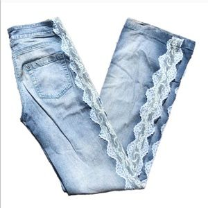 Vintage light wash high waisted denim with lace